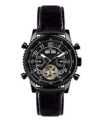 Air Pro black leather watch
