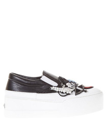 Black leather patches slip-on sneakers