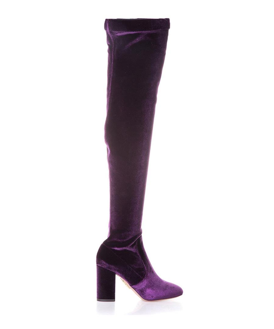 Purple velvet over-the-knee boots Sale - aquazzura