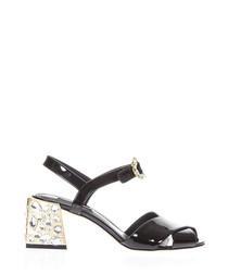 Black leather embellished block heels