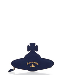 Angloroo navy blue leather keyring
