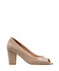 Lassi powder leather peep-toe heels