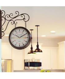 Brown vintage-style garden wall clock