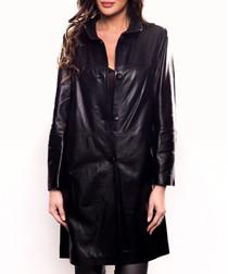 Fabiola black leather 3/4 sleeve coat