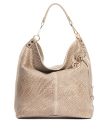 Taupe leather braid-effect shoulder bag