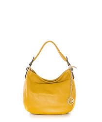 Mustard leather logo detail shoulder bag