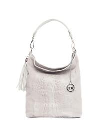Powder leather moc-croc shoulder bag