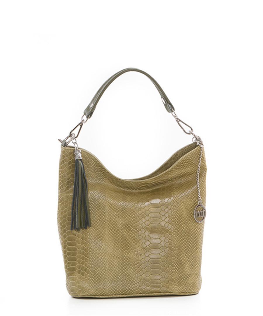 7b8e13e94eae60 Discount Olive leather moc-croc shoulder bag | SECRETSALES