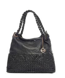 Black leather weave-effect shoulder bag