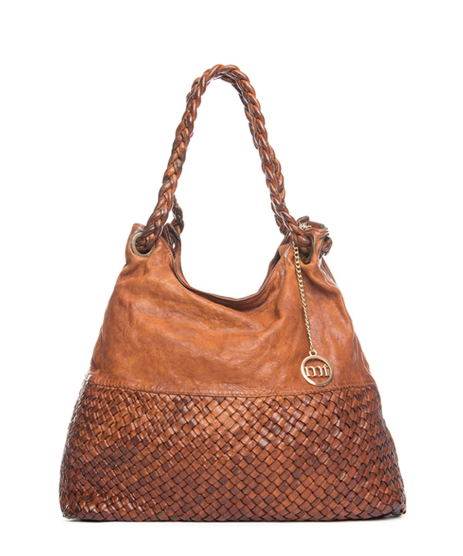 Tan leather weave-effect shoulder bag Sale - mia tomazzi