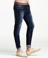 Blue cotton blend regular jeans Sale - kuegou Sale
