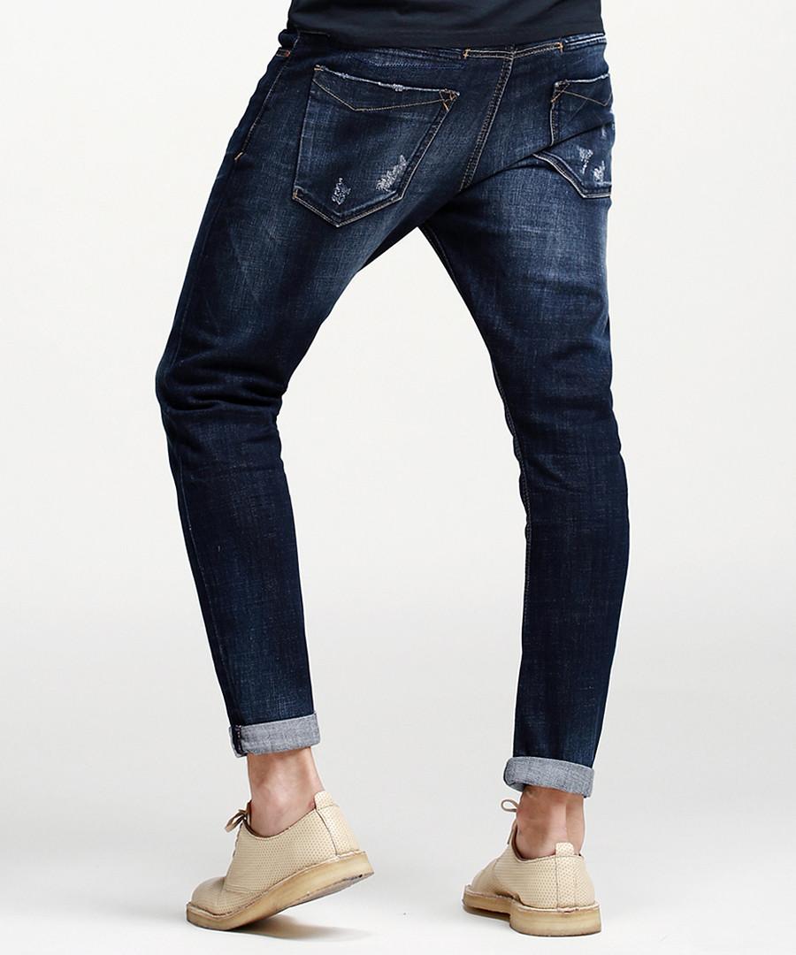 Blue cotton blend regular jeans Sale - kuegou