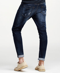 Blue cotton blend regular jeans