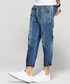 Blue cotton blend faded wash jeans Sale - kuegou Sale