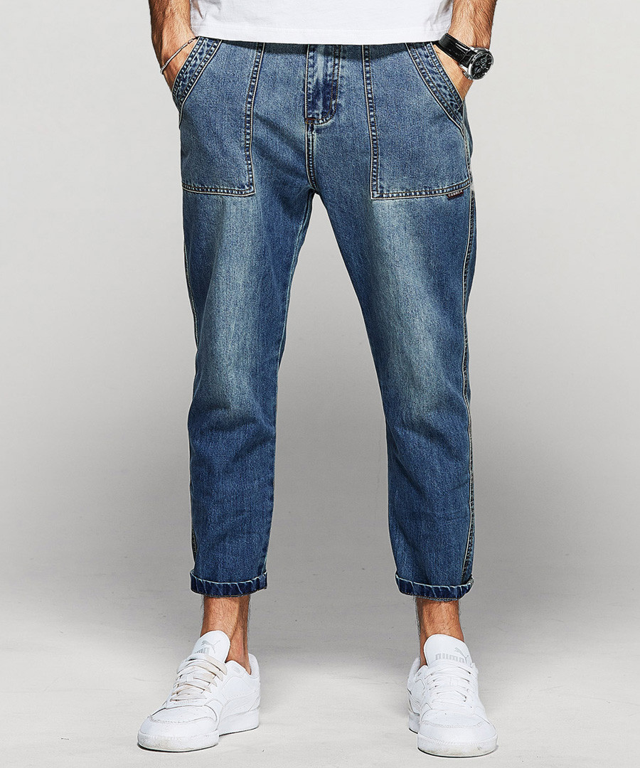 Blue cotton blend faded wash jeans Sale - kuegou