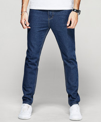 Blue cotton blend straight leg jeans