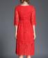 Red floral lace half-sleeve dress Sale - Kaimilan Sale