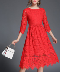 Red floral lace half-sleeve dress
