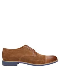 Cognac & blue suede trim detail shoes
