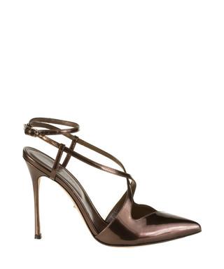 b063b717f84e Mirror bronze-tone leather strappy heels Sale - SERGIO ROSSI Sale