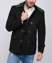 Black wool blend duffle jacket