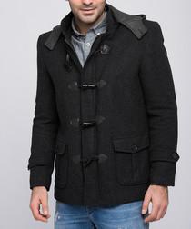 Patterned black wool blend duffle jacket