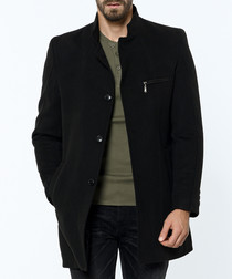 Black button-up wool blend coat