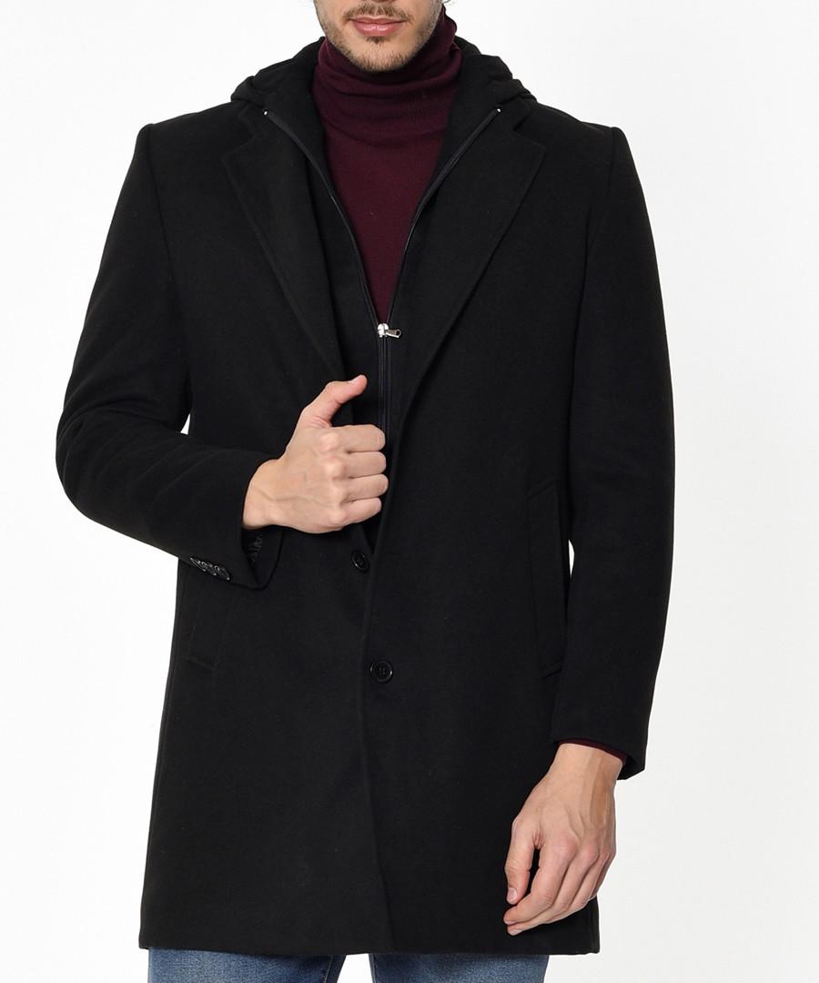 Black wool blend hooded coat Sale - Dewberry
