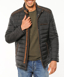Black padded jacket with tan detail