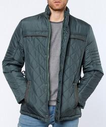 Forest green diamond quilt jacket