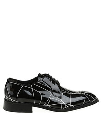 Black leather patterned Derby shoes