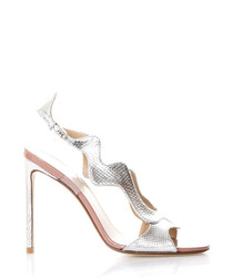 Silver-tone leather wave heeled sandals