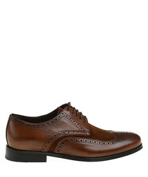 Brown leather punch hole Derby shoes