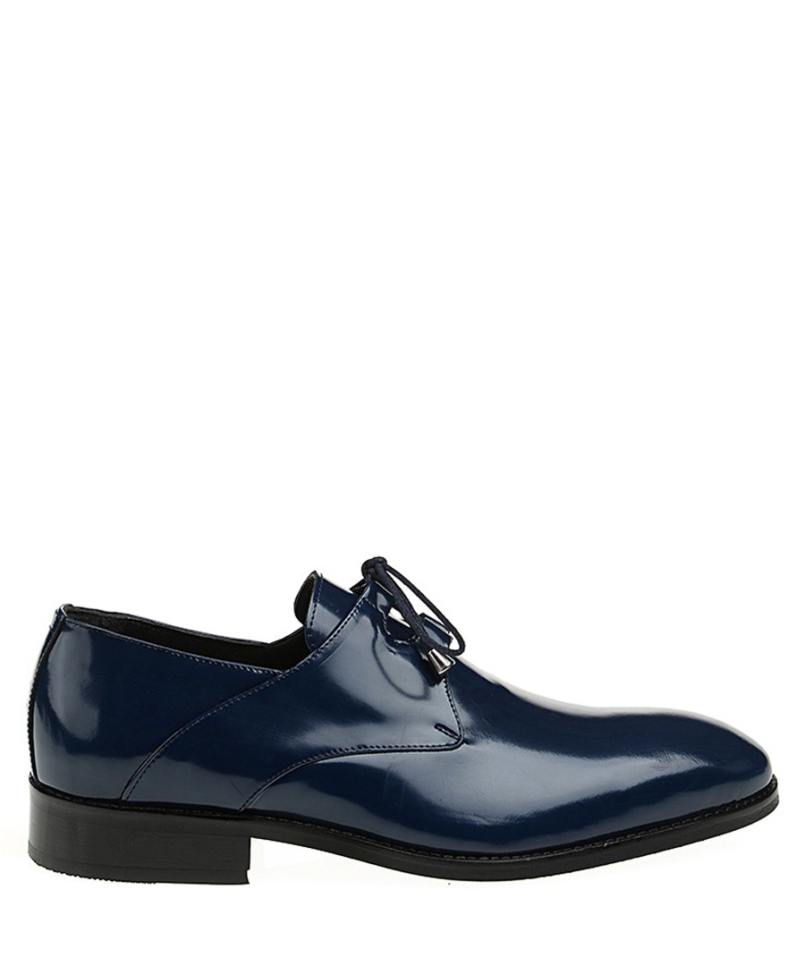 Navy leather lace up shoes Sale - Baqietto