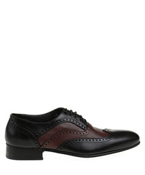 Bordeaux leather punch hole shoes