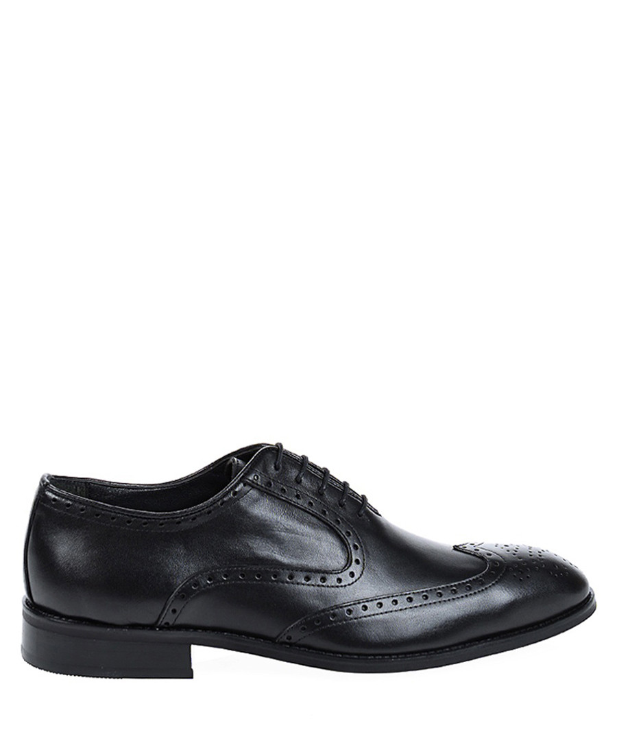 Black leather punch hole shoes Sale - Baqietto