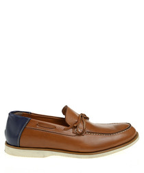 Tobacco leather moccasins