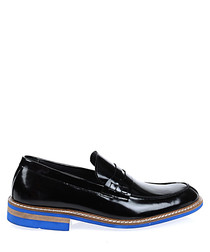 Black leather contrast sole slip ons