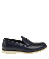 Navy leather slip ons