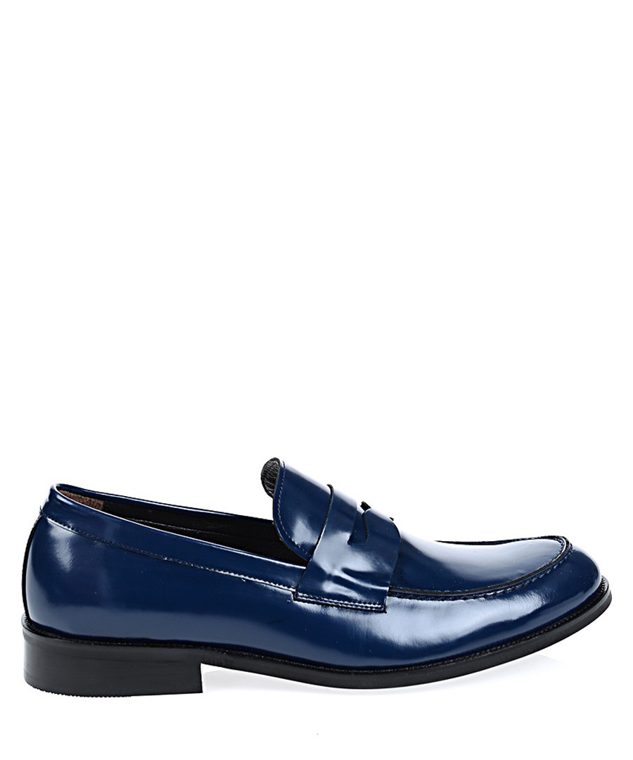 Navy leather slip ons Sale - Baqietto