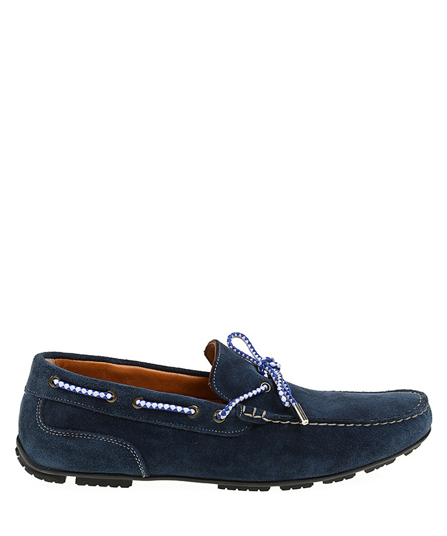 Navy blue suede moccasins  Sale - Baqietto