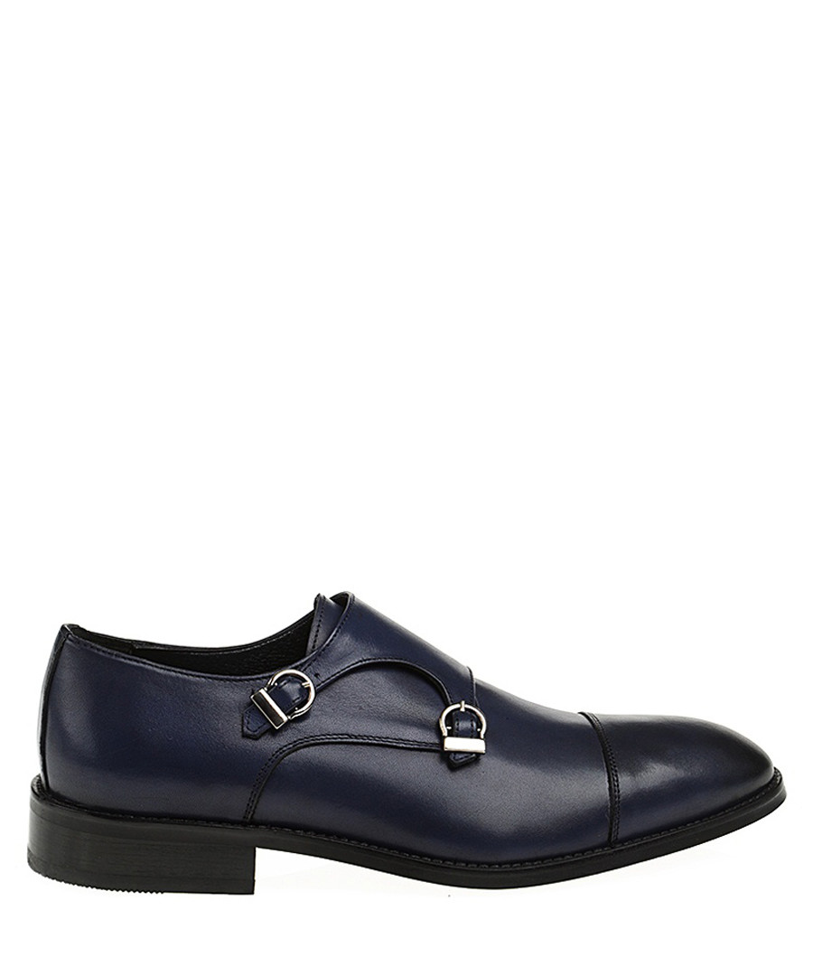 Navy blue leather monk strap shoes Sale - Baqietto