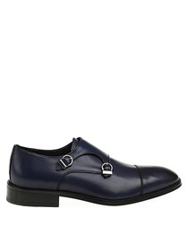 Navy blue leather monk strap shoes