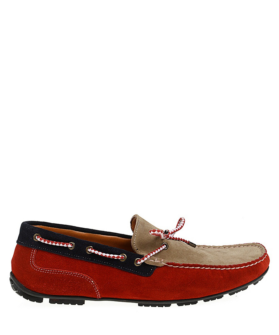 Red & sand brown suede driving shoes Sale - Baqietto