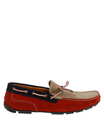 Red & sand brown suede driving shoes