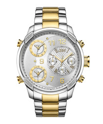 G4 18ct gold-plated steel link watch