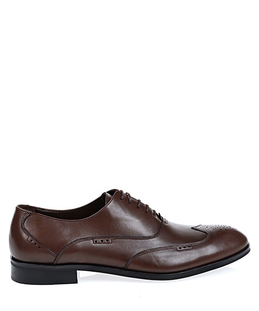 Brown leather Derby shoes Sale - Baqietto