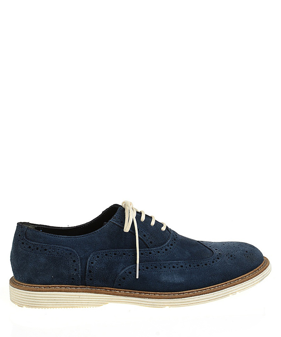 Navy blue suede contrast brogues Sale - Baqietto