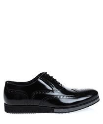 Black patent leather thick brogues