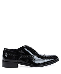 Black patent leather perforated Derbys